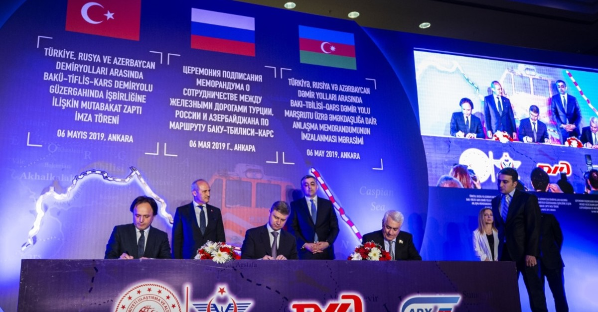 Turkish, Russian and Azerbaijani railway authorities signed a cooperation deal to boost the economic activity on Baku-Tbilisi-Kars(BTK) railway line, May 6, 2019.