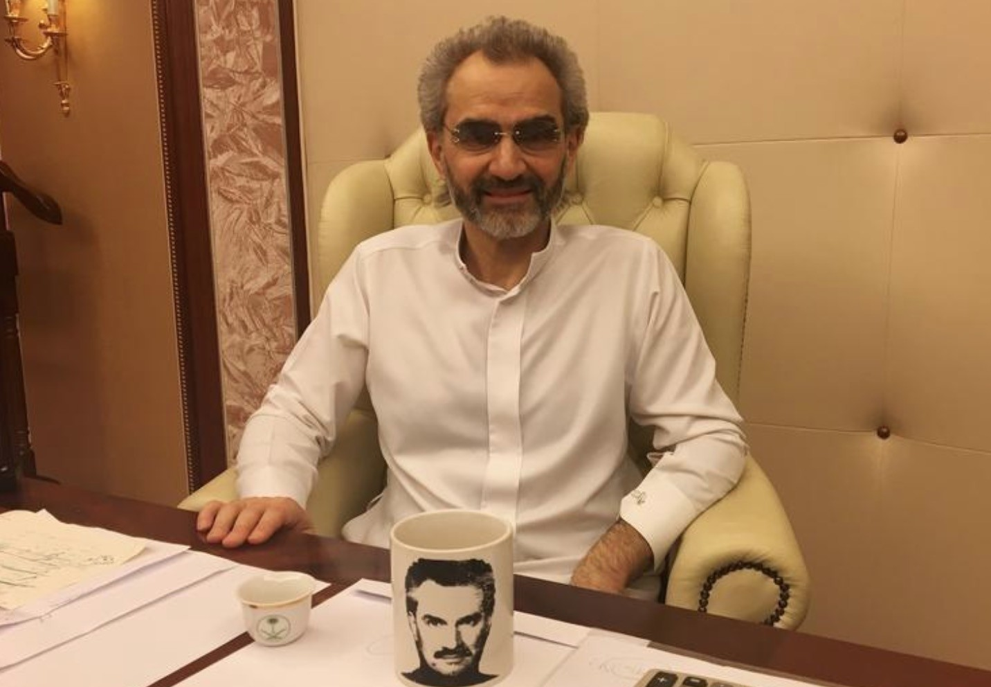 Saudi Arabian billionaire Prince Alwaleed bin Talal sits for an interview with Reuters in the office of the suite where he has been detained at the Ritz-Carlton in Riyadh, Saudi Arabia January 27, 2018 (Reuters Photo)