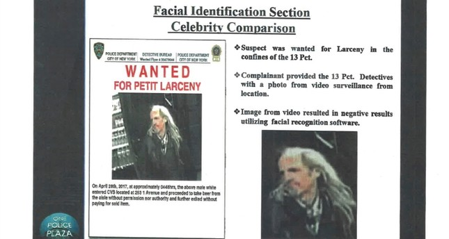 This undated image provided by Georgetown University's Center on Privacy and Technology shows presentation material with images of a wanted suspect in a New York Police Department document obtained by the university. AP Photo