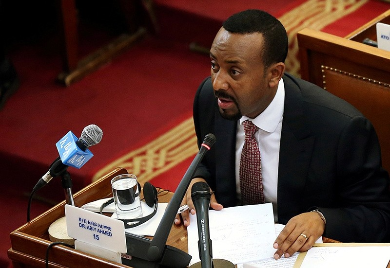 Ethiopia's newly elected Prime Minister Abiy Ahmed addresses the members of parliament inside the House of Peoples' Representatives in Addis Ababa, Ethiopia April 19, 2018. (Reuters Photo)