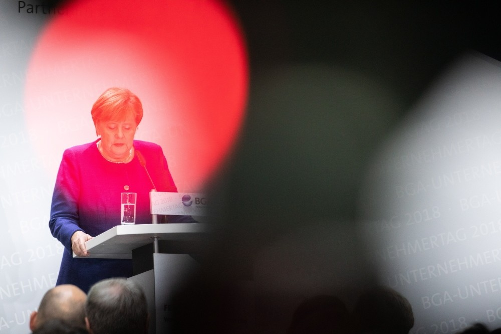 German Chancellor Angela Merkel speaks at an event organized by Federal Association of Wholesale, Foreign Trade and Services in Berlin, Oct. 15.