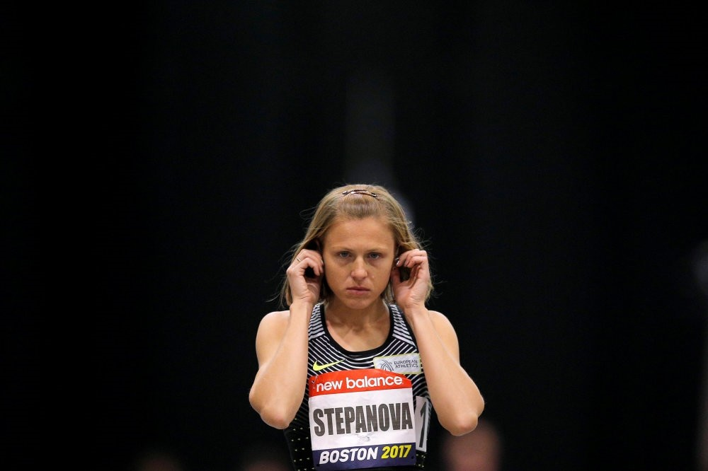 Russian whistleblower and runner Yulia Stepanova takes the track to compete as a neutral athlete in the 800 meter race at the Boston Indoor Grand Prix, last month.