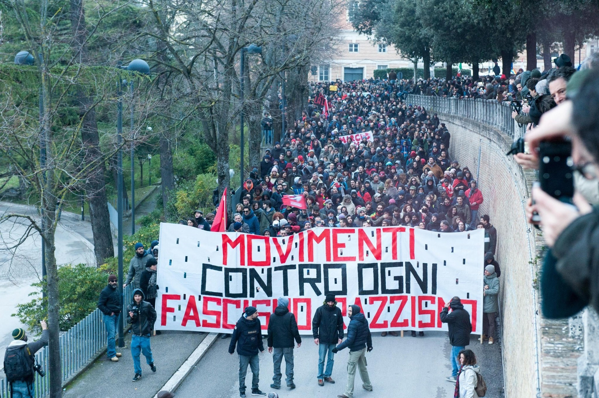 Demonstrators march during an anti-racism rally in Macerata, Italy, Feb. 10, 2018 (EPA Photo)