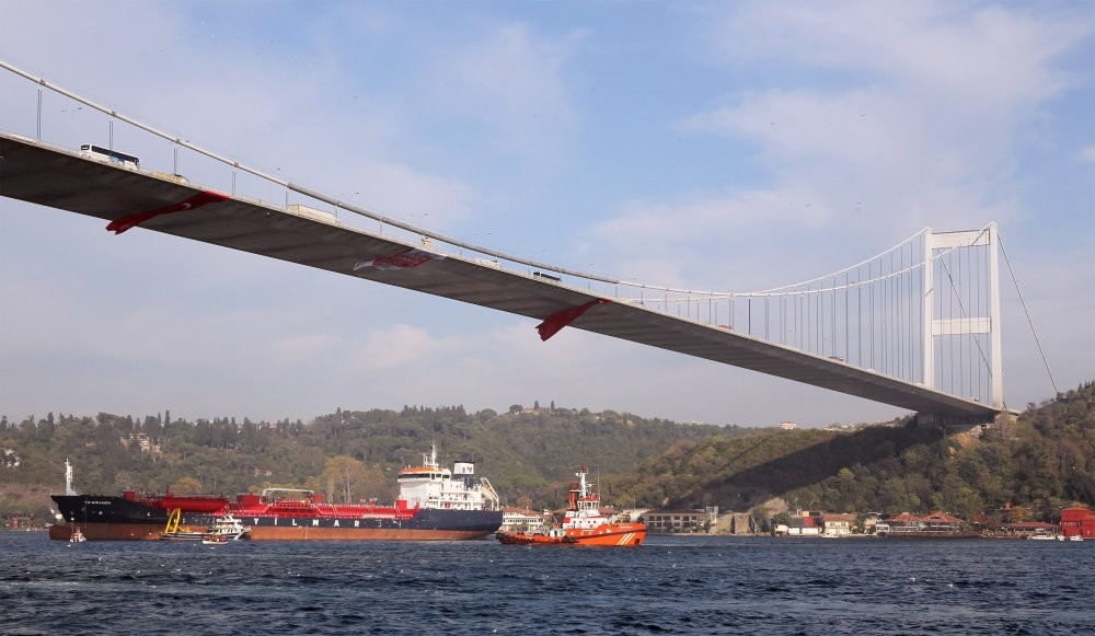 A broken down vessel anchored in the Bosporus in 2013. With high maritime traffic, the Bosporus is among the most at-risk waterways in the world.