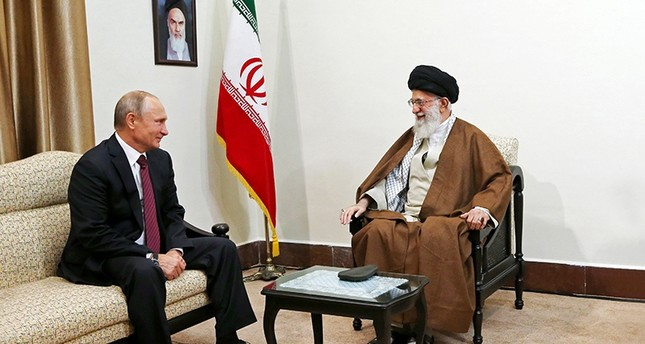 In this picture released by the office of the Iranian supreme leader, Supreme Leader Ayatollah Ali Khamenei, right, speaks with Russian President Vladimir Putin during their meeting in Tehran, Iran, Wednesday, Nov. 1, 2017 AP Photo