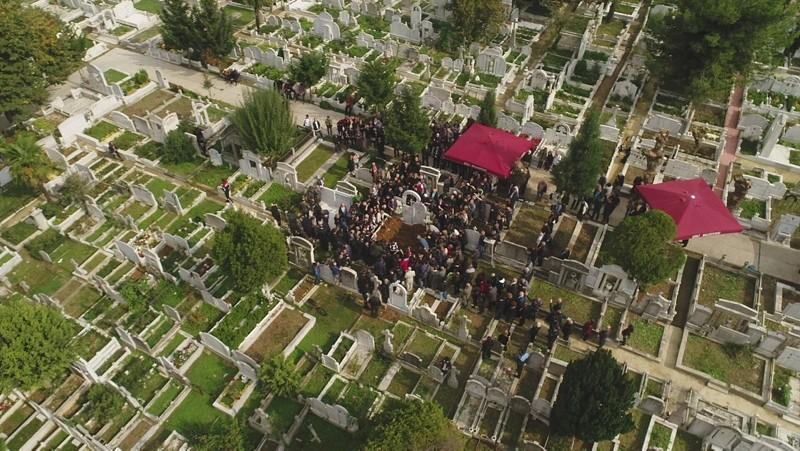 Photo shows an aerial view of the Şişli Armenian cemetery.
