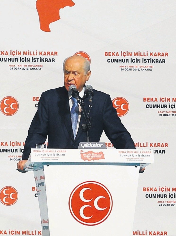 MHP leader Devlet Bahu00e7eli speaks at his party's candidate presentation event in Ankara, Jan. 24, 2019.
