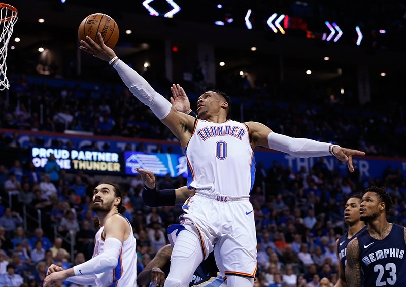 Oklahoma City Thunder guard Russell Westbrook (0) goes to the basket during the second half of an NBA basketball game in Oklahoma City, Wednesday, April 11, 2018. (AP Photo)