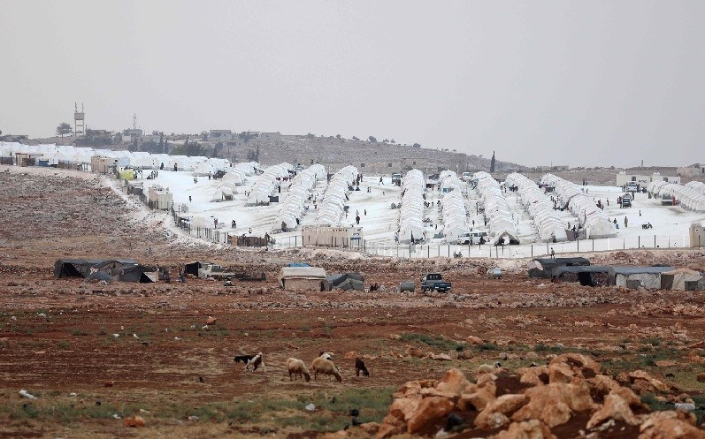 The refugee camp in the Syrian village of Kafr Lusin, north of the Bab al-Hawa border crossing with southern Turkey, Sept. 13.