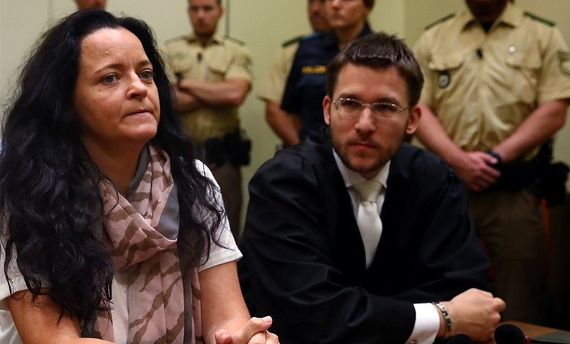Defendant Beate Zschaepe, accused of helping to found a neo-Nazi cell called the National Socialist Underground (NSU), and her lawyer Mathias Grasel attend the continuation of her trial at a courtroom in Munich,  Germany Sept. 1, 2017 (Reuters Photo)