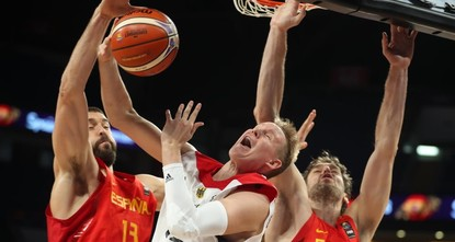pMarc and Pau Gasol were too much to handle as Spain's NBA brother duo guided the reigning champions past Germany 84-72 on Tuesday and into the EuroBasket semi-finals./p