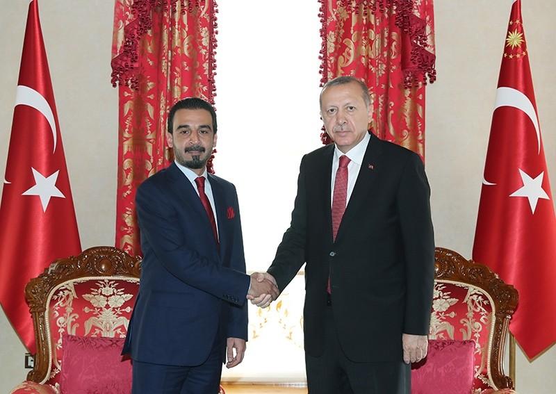 President Recep Tayyip Erdou011fan meets with Iraqi Parliament Speaker Mohammed al-Halbousi. (AA Photo)