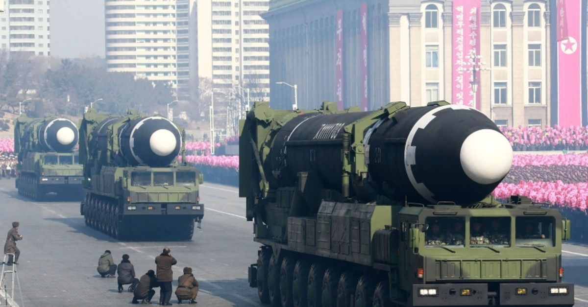 In this file photo taken on February 8, 2018 and released on February 9, 2018 by KCNA shows Hwasong-15 ballistic missiles during the military parade to mark the 70th anniversary of the Korean People's Army at Kim Il Sung Square in Pyongyang. (AFP)