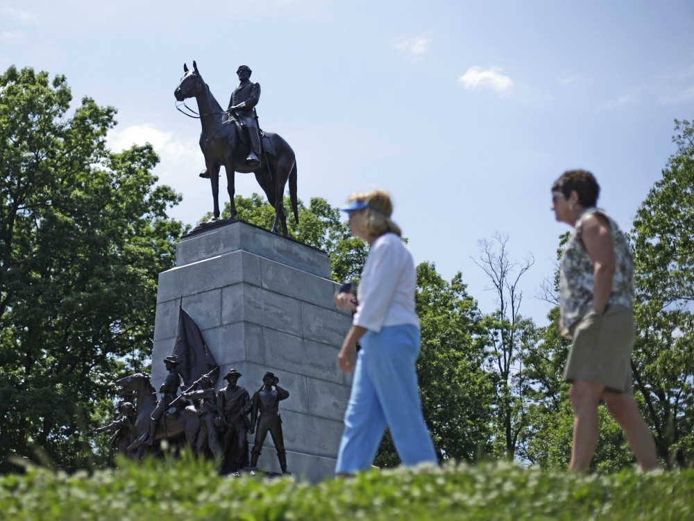 A monument of confederate Gen. Robert E. Lee in Gettysburg National Millitary Park.