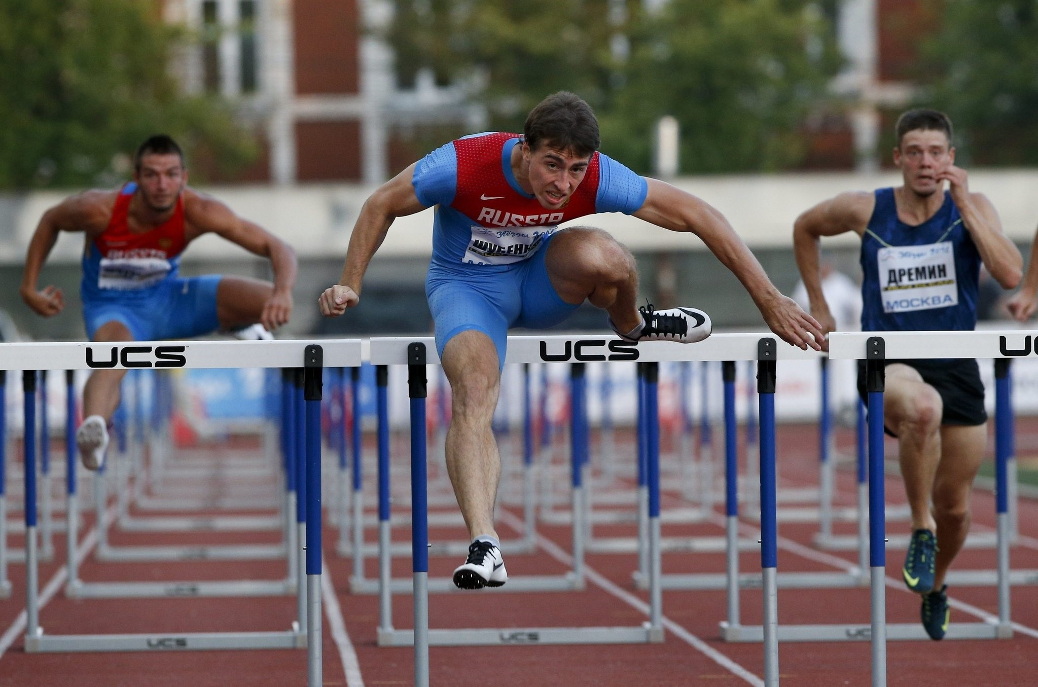 Sergei Shubenkov, center, competes during the Russian Stars 2016 track and field competitions in Moscow, Russia. (AP Photo)