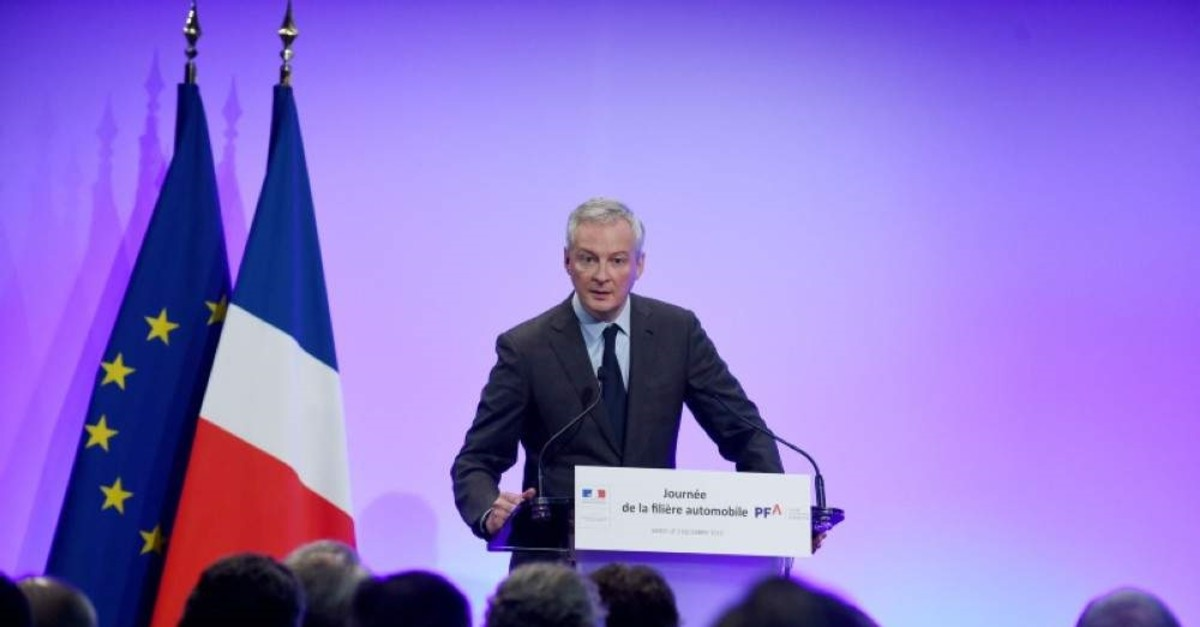French Finance and Economy Minister Bruno Le Maire addresses the ,day of the automobile industry, meeting at the Economy Ministry in Paris, Dec. 2, 2019. (AFP Photo)