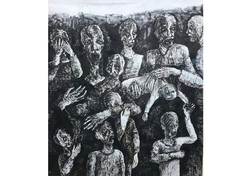 Savau015f u00c7arpu0131u015fmasu0131 (War Clash, 2018) by Ferhat Salman, oil painting, 220 x 200 cm (photo courtesy of ArtfulLiving).