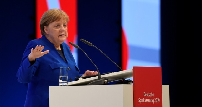German Chancellor Angela Merkel delivers her speech at the annual meeting of the German Sparkasse bank (Deutscher Sparkassentag) in Hamburg, Germany May 15, 2019. (Reuters Photo)