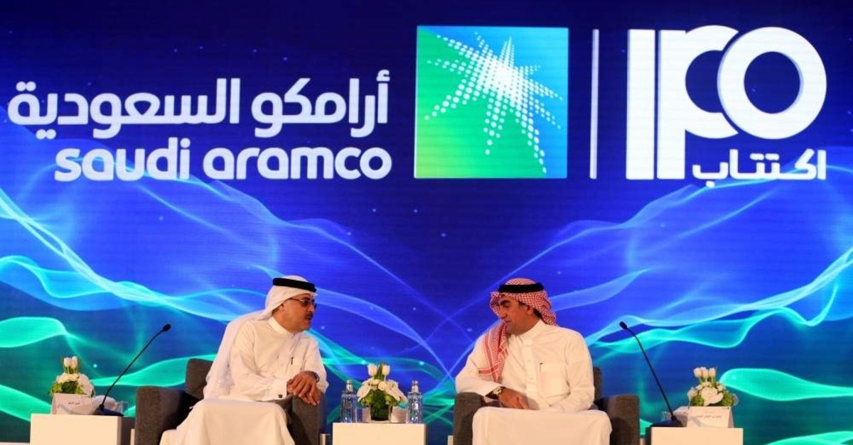 Amin H. Nasser, president and CEO of Aramco, and Yasser al-Rumayyan, Saudi Aramco's chairman, attend a news conference at the Plaza Conference Center in Dhahran, Saudi Arabia November 3, 2019. (Reuters Photo)