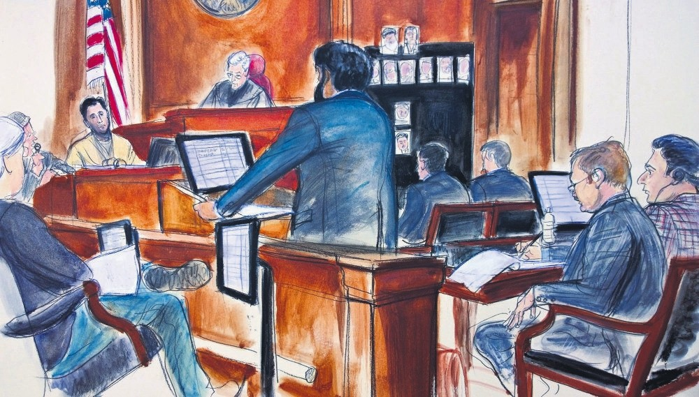 A courtroom sketch showing Turkish-Iranian businessmen Reza Zarrab (C) being questioned in a court, New York, Nov. 29.