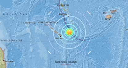 pAn undersea earthquake of magnitude 7.0 struck 82 kms (51 miles) east of New Caledonia's Loyalty Islands in the South Pacific on Monday, prompting a tsunami warning for coastlines within 300 kms...