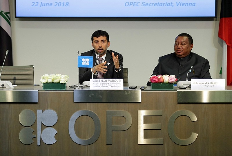 UAE's Oil Minister OPEC President Suhail Mohamed Al Mazrouei and OPEC Secretary General Mohammad Barkindo address a news conference after an OPEC meeting in Vienna, Austria, June 22, 2018. (Reuters Photo)