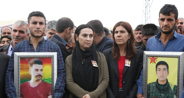 HDP co-chair Figen Yüksedağ (second from left), attending the funeral ceremony of two PKK terrorists. (AA Photo)