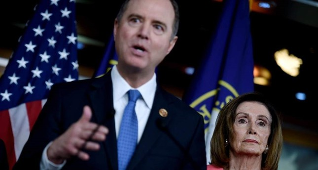House Intelligence Committee Chairman Adam Schiff D-CA C speaks after US Speaker of the House Nancy Pelosi D-CA R announces that he and six additional members will be managers of the Senate impeachment trial of President Donald Trump at the US Capitol Jan. 15, 2020 in Washington, DC. AFP Photo