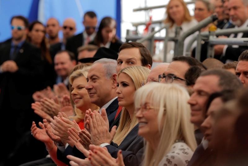 In this May 14, 2018 file photo, Israeli PM Benjamin Netanyahu, his wife Sara, Senior White House Advisor Jared Kushner, his wife and US President's daughter Ivanka Trump, and Treasury Secretary Steve Mnuchin, attend the opening ceremony. (AP Photo)
