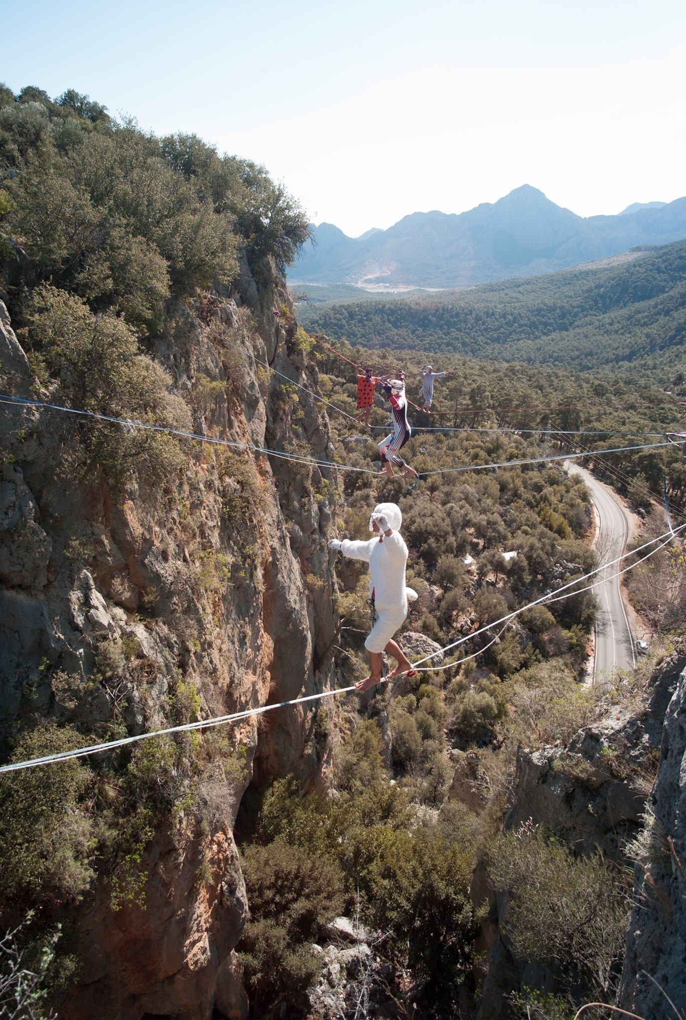 Like slackline, highline involves walking a rope similar to a tightrope between two points.