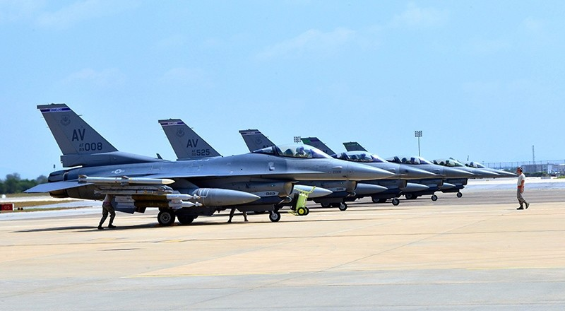 This US Air Force handout photo taken on August 9, 2015 shows F-16 Fighting Falcons sitting on the tarmac at the Incirlik Air Base near Adana, Turkey. (AP Photo)