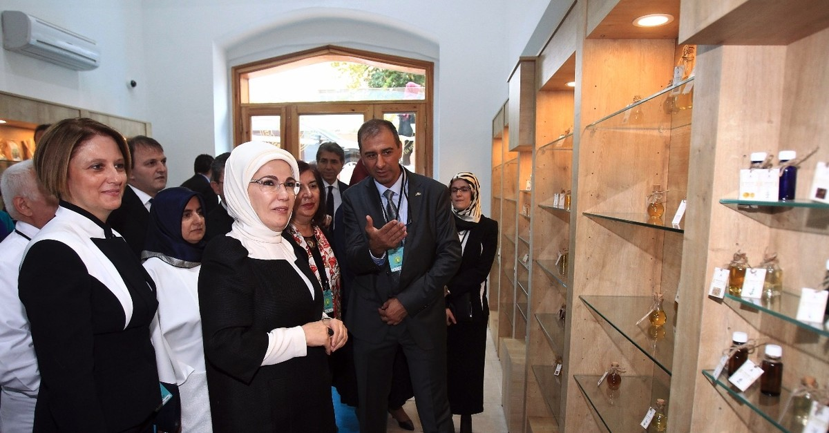 First lady Emine Erdou011fan attends the opening of a phytotherapy center at a university in Istanbul, September 15, 2015. Erdou011fan is a key promoters of traditional and complementary medicine in Turkey.