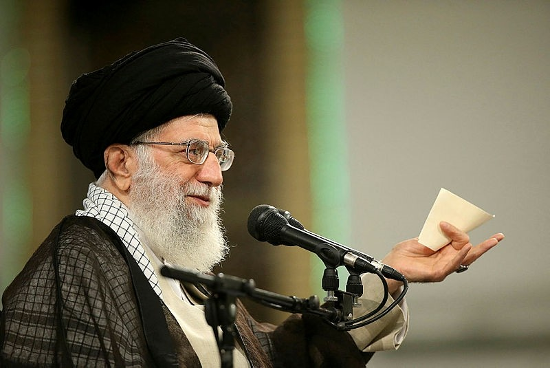 A handout picture provided by the office of Iran's Supreme Leader on April 30, 2018, shows Ayatollah Ali Khamenei delivering a speech during Labor Day at the workers' meeting. (AFP Photo)