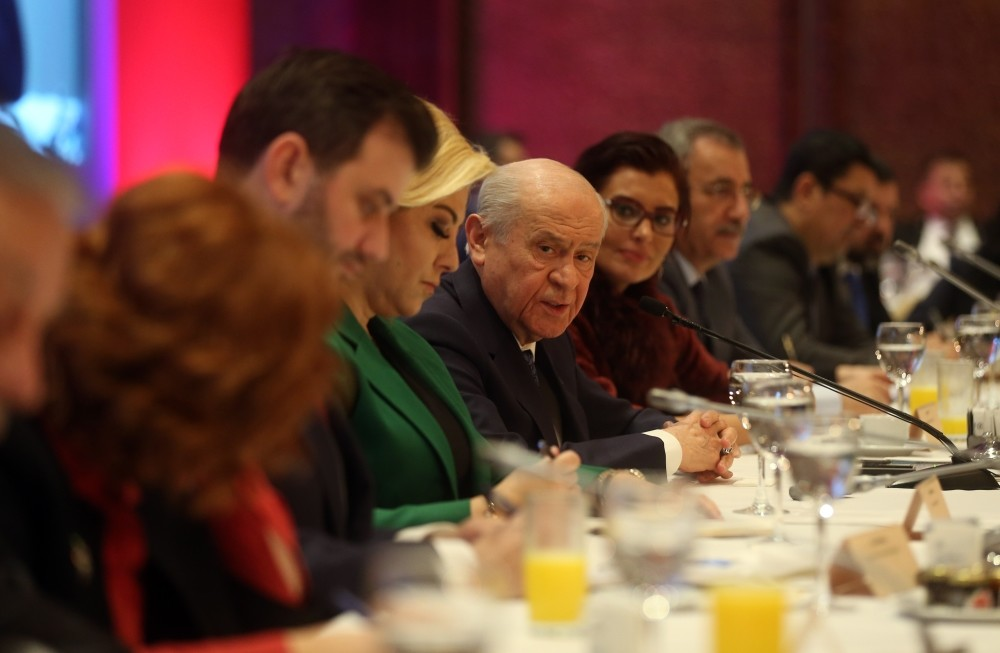 Nationalist Movement Party (MHP) leader Devlet Bahu00e7eli speaks at a meeting with reporters in Ankara, yesterday.