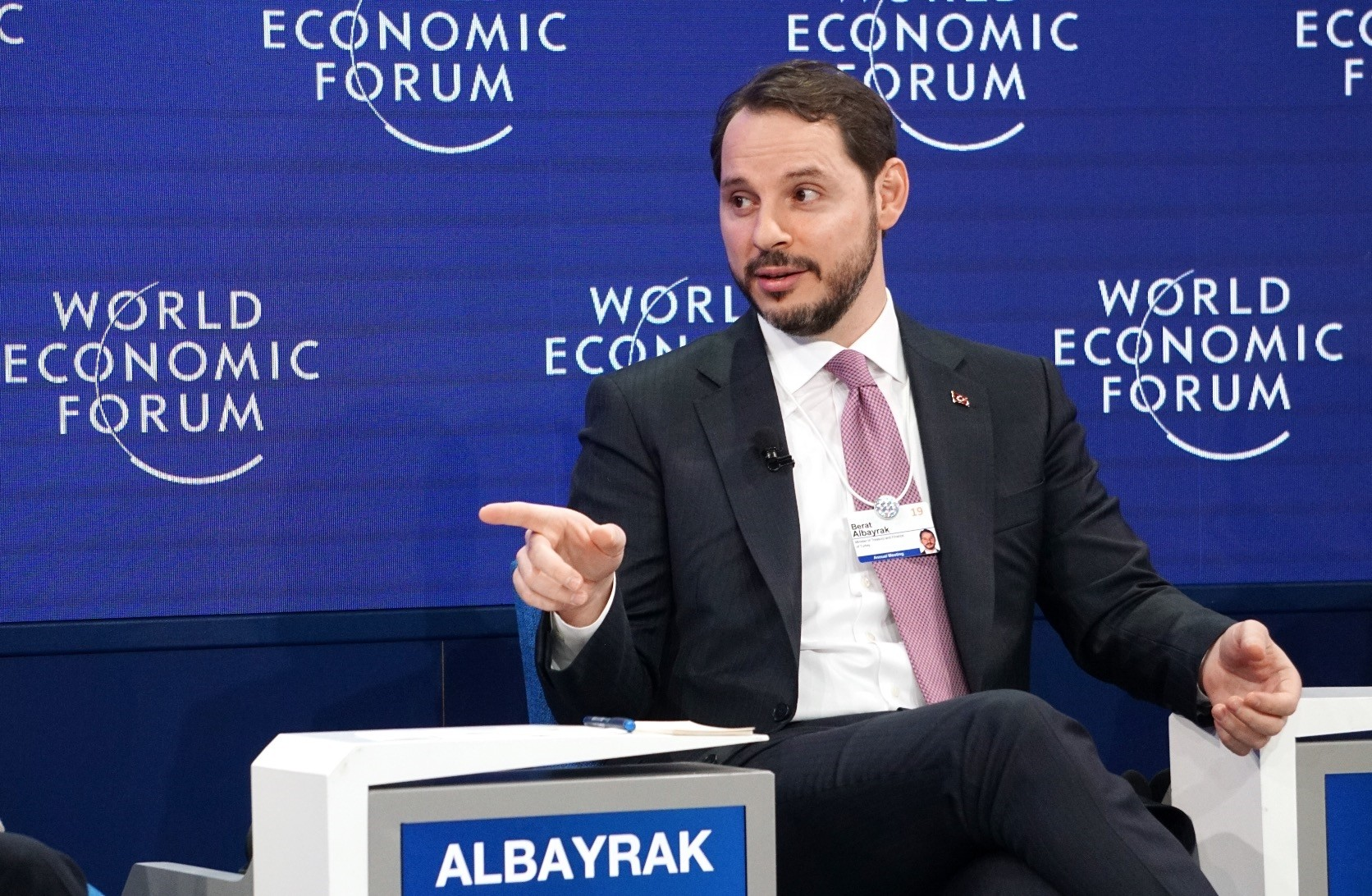 Treasury and Finance Minister Berat Albayrak speaks during the u201cEmerging Markets Outlooku201d session at the 49th World Economic Forum (WEF) in Davos, Switzerland, Jan. 23, 2019.