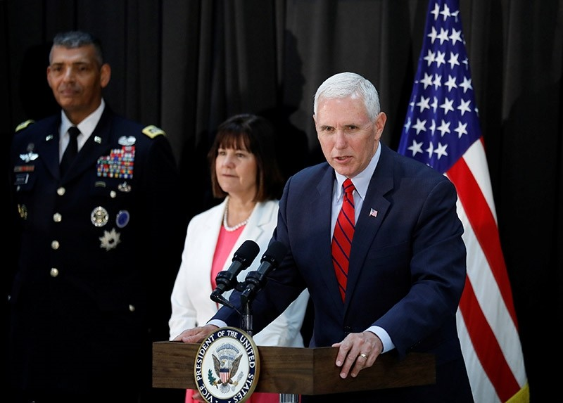 U.S. Vice President Mike Pence speaks during an Easter fellowship dinner at a military base in Seoul, South Korea (Reuters Photo)