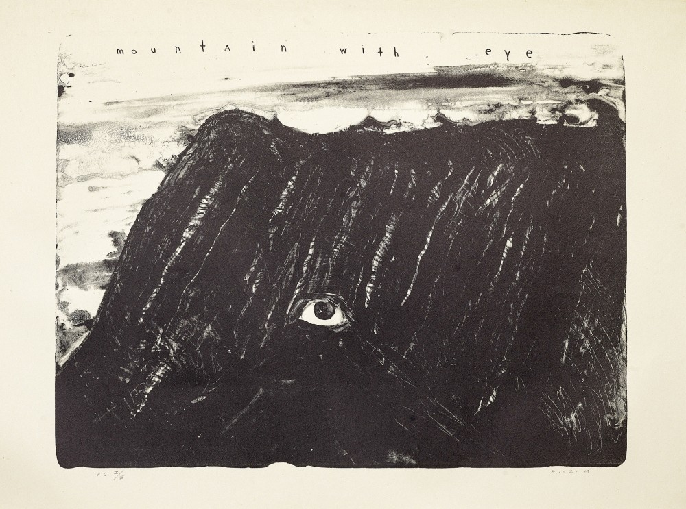 The exhibition takes its title from u201cDark Deep Darkness,u201d a lithograph by American director and painter David Lynch. Lynchu2019s lithograph, u201cMountain with Eye,u201d unsettles the visitor, with its terrifying vision of an all-seeing, dark mountain.