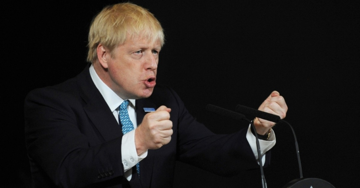In this July 27, 2019, file photo, Britain's Prime Minister Boris Johnson talks during a speech on domestic priorities at the Science and Industry Museum in Manchester, England. (AP Photo)