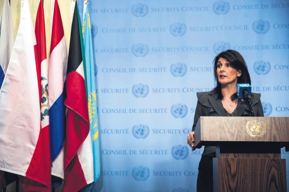 U.S. ambassador to the United Nations Nikki Haley speaks during a press conference, urging the U.N. to convene to discuss the ongoing protests in Iran, U.N. headquarters, New York City, Jan. 2.