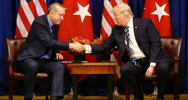 أردوغان وترامب قبيل اجتماع ثنائي على هامش اجتماع بالجمعية العامة للأمم المتحدة سبتمبر 2017. (الرئاسة التركية)