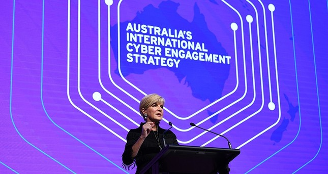 Australian Foreign Minister Julie Bishop gestures on stage during her speech at the launch of Australia's inaugural International Cyber Engagement Strategy at the Telstra Customer Insight Centre in Sydney, Australia, Oct. 4, 2017 (EPA Photo)