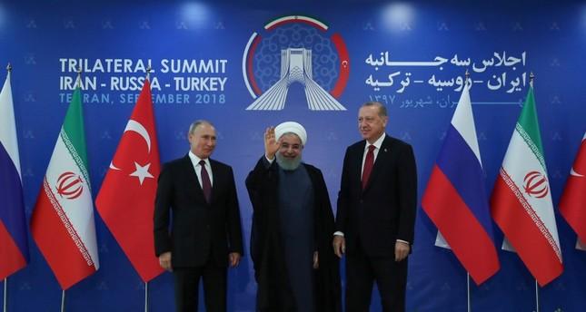رؤساء تركيا وروسيا وإيران، في العاصمة الإيرانية طهران، الأسبوع الماضي