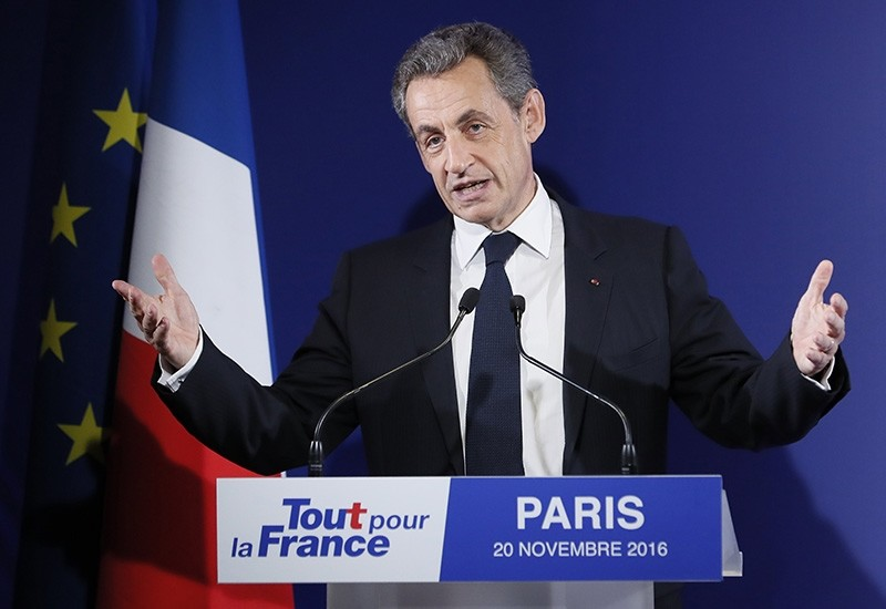 Former French President Nicolas Sarkozy delivers a speech after being defeated on the first round of the French right wing party 'Les Republicains' (LR) primaries in Paris, France, 20 November 2016. (EPA Photo)