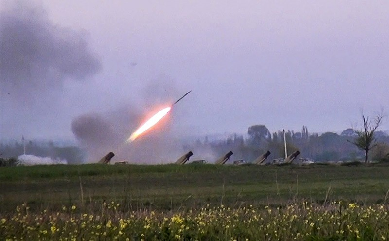 A grad rocket is fired by Azerbaijani army in the village of Gapanli, on April 3, 2016. (AP File Photo)