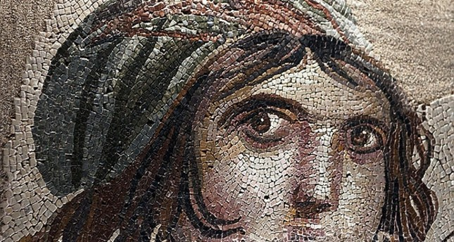 Gypsy Girl mosaic; Akratos, a goddess of the seasons and Earth Goddess of the recovered Satire named Gypsy Girl with traces of mosaic and mother of the gods Gaia or different views on that Alexander the Great. (File Photo)