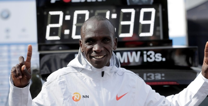 Eliud Kipchoge celebrates winning the 45th Berlin Marathon in Berlin, Germany, Sunday, Sept. 16, 2018. (AP Photo)