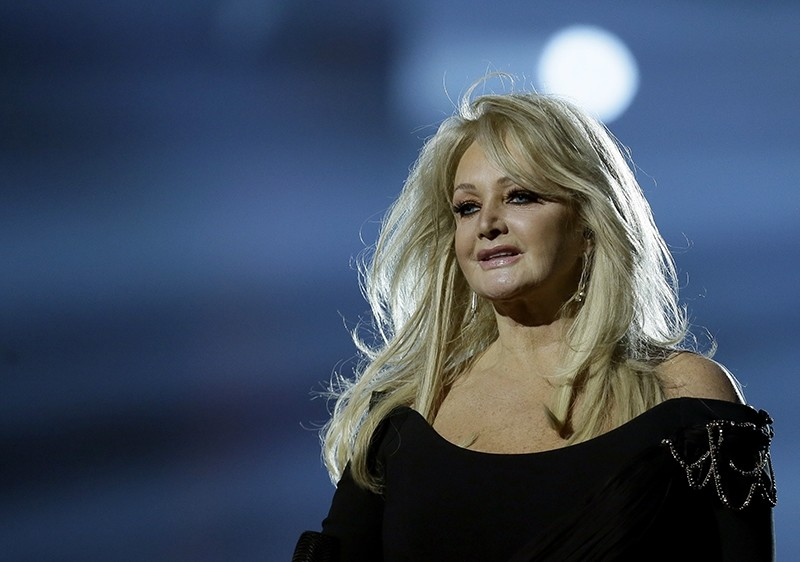 In this May 17, 2013, file photo, Bonnie Tyler performs her song ,Believe in Me, during a rehearsal for the final of the Eurovision Song Contest at the Malmo Arena in Malmo, Sweden. (AP Photo)