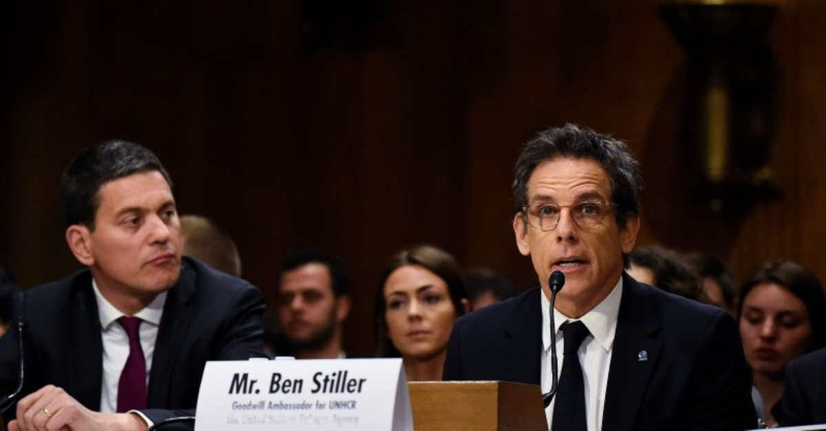 Actor and UNHCR Goodwill Ambassador Ben Stiller testify before the Senate Foreign Relations Committee at a hearing titled in Washington, D.C., U.S., May 1, 2019. (Reuters Photo)
