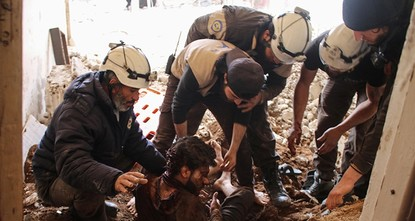 pAirstrikes struck a center of Syria's rescuers known as the White Helmets in an opposition-held area in the country's center, killing eight volunteers, opposition activists said...