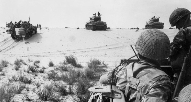This file photo taken on June 5, 1967 during the beginning of Six-Day War or the third of the Arab-Israeli wars, shows Israeli armed forces in action in the Sinai Desert during clashes with Egyptian forces.